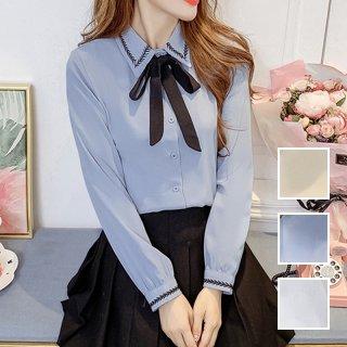韓国 ファッション トップス ブラウス シャツ 春 夏 カジュアル PTXJ857  刺繍 ステッチ リボン バイカラー シアー オルチャン シンプル 定番 セレカジ