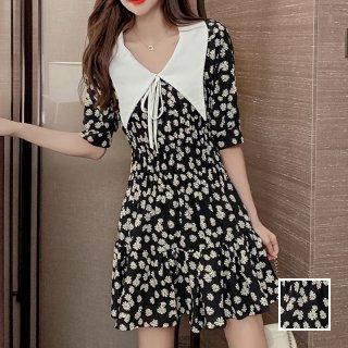 韓国 ファッション ワンピース 春 夏 カジュアル PTXJ868  ビッグカラー リボン Aライン フレア オルチャン シンプル 定番 セレカジ