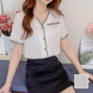韓国 ファッション トップス ブラウス シャツ 春 夏 カジュアル PTXJ871  パールボタン シアー 異素材ミックス シック オルチャン シンプル 定番 セレカジ