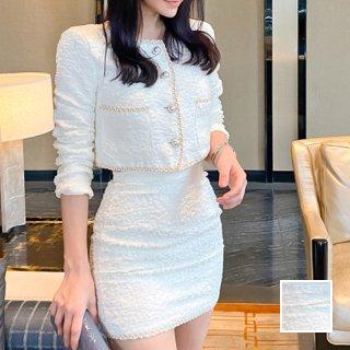 韓国 ファッション パーティードレス 結婚式 お呼ばれドレス セットアップ 春 夏 秋 パーティー ブライダル PTXJ886  ショートジャケット マイクロミニ パールボタ 二次会 セレブ きれいめ