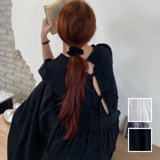 韓国 ファッション ワンピース 春 夏 カジュアル PTXJ990  バックリボン 背中見せ ティアード マキシ オルチャン シンプル 定番 セレカジ