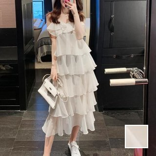 韓国 ファッション ワンピース 春 夏 カジュアル PTXK043  ティアード シアー シフォン キャミワンピース オルチャン シンプル 定番 セレカジ