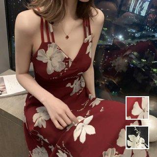 韓国 ファッション ワンピース 春 夏 カジュアル PTXK044  バッククロス 背中見せ Aライン マキシ フレア オルチャン シンプル 定番 セレカジ