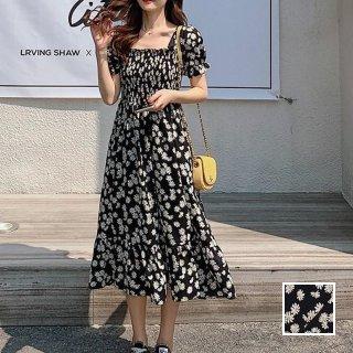 韓国 ファッション ワンピース 春 夏 カジュアル PTXK049  シアー シフォン風 ギャザー 背中見せ Aライン オルチャン シンプル 定番 セレカジ
