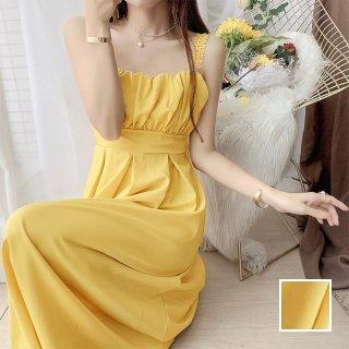 韓国 ファッション ワンピース 春 夏 カジュアル PTXK067  デコルテ見せ ウエストマーク フェミニン オルチャン シンプル 定番 セレカジ