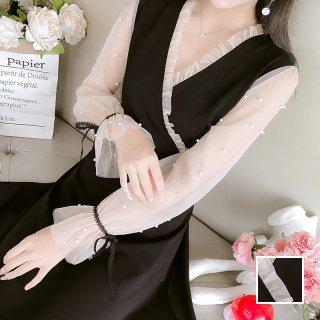 韓国 ファッション ワンピース パーティードレス ショート ミニ丈 春 夏 パーティー ブライダル PTXK089 結婚式 お呼ばれ パール シースルー カシュクール フリル 二次会 セレブ きれいめ