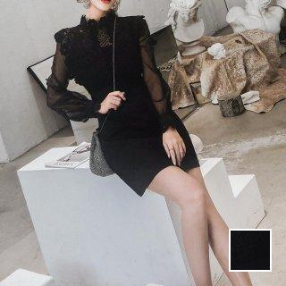 韓国 ファッション ワンピース パーティードレス ショート ミニ丈 春 夏 秋 パーティー ブライダル PTXK106 結婚式 お呼ばれ カットワークレース シースルー マイ 二次会 セレブ きれいめ