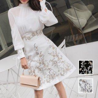 韓国 ファッション パーティードレス 結婚式 お呼ばれドレス セットアップ 春 夏 パーティー ブライダル PTXK108  シアー レイヤード 袖コンシャス クラシカル 二次会 セレブ きれいめ
