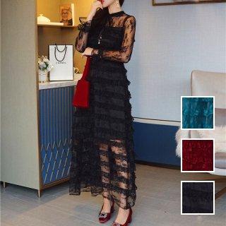 韓国 ファッション ワンピース パーティードレス ロング マキシ 春 夏 パーティー ブライダル PTXK109 結婚式 お呼ばれ オールレース ティアード シースルー ミモ 二次会 セレブ きれいめ