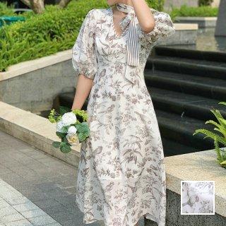 韓国 ファッション ワンピース パーティードレス ロング マキシ 春 夏 パーティー ブライダル PTXK120 結婚式 お呼ばれ ハッピーモチーフ フレア パフスリーブ シ 二次会 セレブ きれいめ