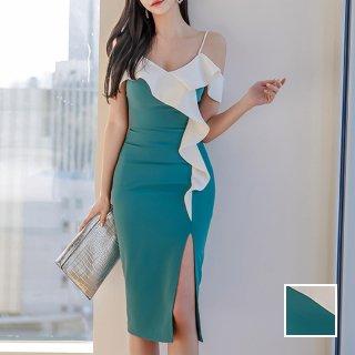 韓国 ファッション ワンピース パーティードレス ひざ丈 ミディアム 春 夏 パーティー ブライダル PTXK128 結婚式 お呼ばれ ビビッド フレアトップ アシンメトリー 二次会 セレブ きれいめ