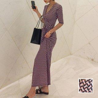 韓国 ファッション ワンピース パーティードレス ロング マキシ 春 夏 パーティー ブライダル PTXK148 結婚式 お呼ばれ ジオメトリック ラップドレス マキシ モダ 二次会 セレブ きれいめ