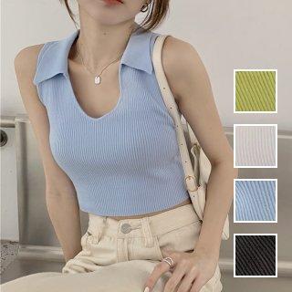 韓国 ファッション トップス Tシャツ カットソー 春 夏 カジュアル PTXK269  リブ 襟付き ノースリーブ 肌見せ キュート オルチャン シンプル 定番 セレカジ