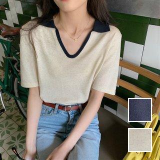 韓国 ファッション トップス Tシャツ カットソー 春 夏 カジュアル PTXK272  バイカラー 襟付き スキッパー リブ プレーン オルチャン シンプル 定番 セレカジ