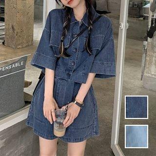 韓国 ファッション セットアップ 春 夏 カジュアル PTXK300  デニム ショート シャツジャケット キュロット オルチャン シンプル 定番 セレカジ
