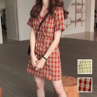 韓国 ファッション ワンピース 春 夏 カジュアル PTXK367  チェック フロントボタン ラップ シャツワンピ  オルチャン シンプル 定番 セレカジ