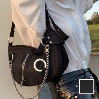 韓国 ファッション ショルダー ポシェット 春 夏 カジュアル PTXK192  チェーン ジップ 金具 脇下 ミニバッグ オルチャン シンプル 定番 セレカジ