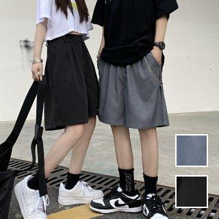 韓国 ファッション パンツ ショート ボトムス 春 夏 カジュアル PTXK405  ハーフパンツ ワイド ゆったり チェーン オルチャン シンプル 定番 セレカジ