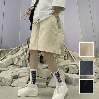 韓国 ファッション パンツ ショート ボトムス 春 夏 カジュアル PTXK407  サイドタック ワイド ハーフパンツ シンプル オルチャン シンプル 定番 セレカジ