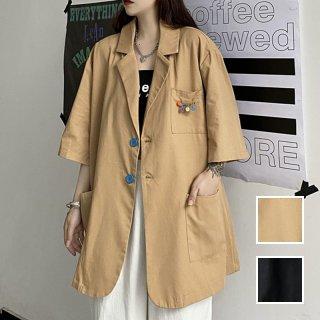韓国 ファッション アウター ジャケット 春 夏 カジュアル PTXK418  ビッグシルエット テーラードジャケット 七分袖 オルチャン シンプル 定番 セレカジ