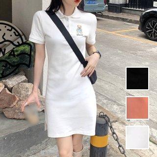 韓国 ファッション ワンピース 春 夏 カジュアル PTXK514  ライン バイカラー ポロシャツワンピ ミニ オルチャン シンプル 定番 セレカジ