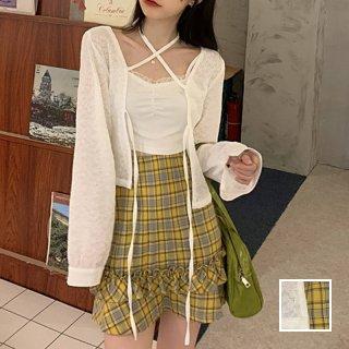 韓国 ファッション セットアップ 春 夏 カジュアル PTXK521  シアー ガウン クロップド 肌見せ フリル オルチャン シンプル 定番 セレカジ