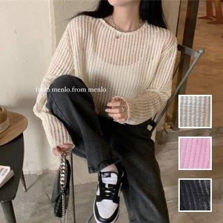 韓国 ファッション トップス ニット セーター 春 夏 カジュアル PTXK536  透かし編み シースルー ニット プルオーバー オルチャン シンプル 定番 セレカジ