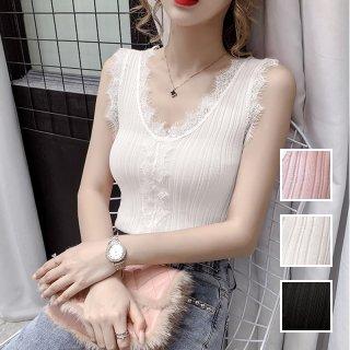 韓国 ファッション トップス Tシャツ カットソー 春 夏 カジュアル PTXK555  フリンジレース リブ プルオーバー 重ね着 オルチャン シンプル 定番 セレカジ