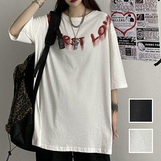韓国 ファッション トップス Tシャツ カットソー 春 夏 カジュアル PTXK390  ビッグシルエット ペイント風 ロゴ モノトーン オルチャン シンプル 定番 セレカジ