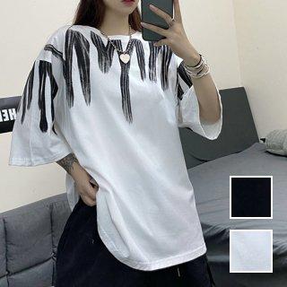 韓国 ファッション トップス Tシャツ カットソー 春 夏 カジュアル PTXK391  ストリート ビッグシルエット ペイント風 オルチャン シンプル 定番 セレカジ