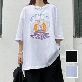 韓国 ファッション トップス Tシャツ カットソー 春 夏 カジュアル PTXK395  ビッグシルエット ロゴ ゆったり ストリート オルチャン シンプル 定番 セレカジ
