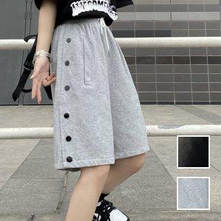 韓国 ファッション パンツ ショート ボトムス 春 夏 カジュアル PTXK398  ボタン スリット ハーフパンツ ストリート オルチャン シンプル 定番 セレカジ