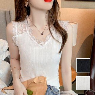 韓国 ファッション トップス Tシャツ カットソー 春 夏 カジュアル PTXK562  バックコンシャス 肌見せ フリンジレース オルチャン シンプル 定番 セレカジ