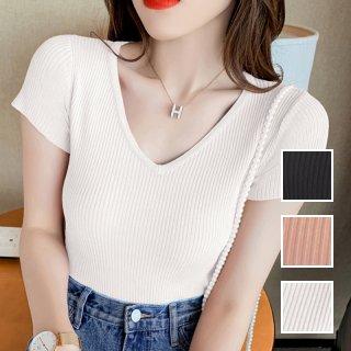 韓国 ファッション トップス Tシャツ カットソー 春 夏 カジュアル PTXK572  リブ 深Vネック タイト目 プルオーバー オルチャン シンプル 定番 セレカジ