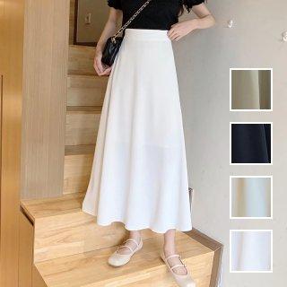 韓国 ファッション スカート ボトムス 春 夏 カジュアル PTXK695  シアー マキシ フレア プレーン 着回し オルチャン シンプル 定番 セレカジ
