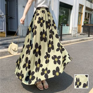 韓国 ファッション スカート ボトムス 春 夏 カジュアル PTXK700  大柄 ハイコントラスト マキシ フレアスカート オルチャン シンプル 定番 セレカジ