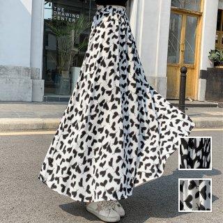 韓国 ファッション スカート ボトムス 春 夏 カジュアル PTXK703  バイカラー ハイコントラスト ハート マキシ オルチャン シンプル 定番 セレカジ