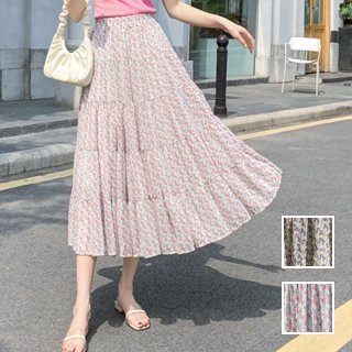 韓国 ファッション スカート ボトムス 春 夏 カジュアル PTXK705  小花 シアー シフォン ティアード ドレープ オルチャン シンプル 定番 セレカジ