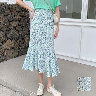 韓国 ファッション スカート ボトムス 春 夏 カジュアル PTXK706  シアー マーメイドスカート ミモレ 爽やか オルチャン シンプル 定番 セレカジ