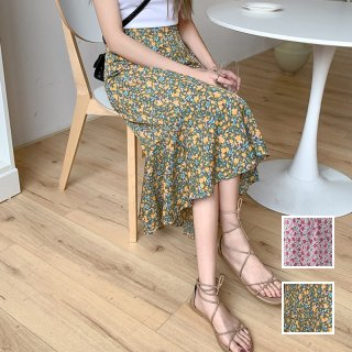 韓国 ファッション スカート ボトムス 春 夏 カジュアル PTXK707  シアー シフォン ゆったり マーメイド ミモレ オルチャン シンプル 定番 セレカジ
