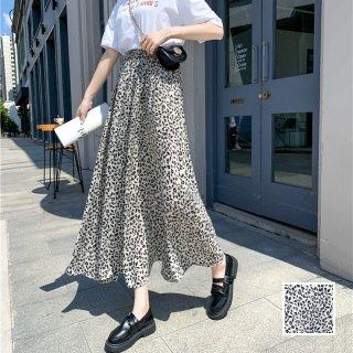 韓国 ファッション スカート ボトムス 春 夏 カジュアル PTXK710  バイカラー モノトーン 小花 マキシ ドレープ オルチャン シンプル 定番 セレカジ