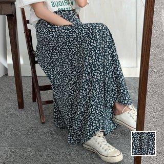 韓国 ファッション スカート ボトムス 春 夏 カジュアル PTXK713  小花 モノトーン シアー シフォン マキシ オルチャン シンプル 定番 セレカジ