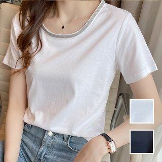 韓国 ファッション トップス Tシャツ カットソー 春 夏 カジュアル PTXK853  グリッター プルオーバー ジャケットインナー オルチャン シンプル 定番 セレカジ