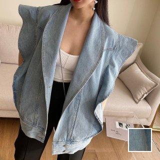 韓国 ファッション アウター ブルゾン 春 夏 カジュアル PTXK863  フリル デニム Yライン オーバーサイズ オルチャン シンプル 定番 セレカジ