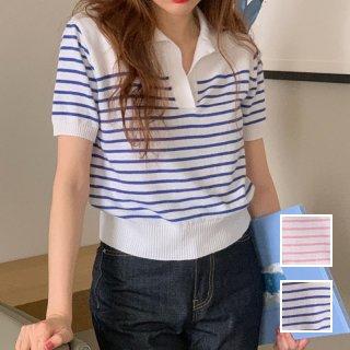 韓国 ファッション トップス ニット セーター 春 夏 カジュアル PTXK868  スキッパー バイカラー マリンテイスト オルチャン シンプル 定番 セレカジ