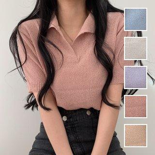 韓国 ファッション トップス ニット セーター 春 夏 カジュアル PTXK880  シアー スキッパー 淡色 サマーニット オルチャン シンプル 定番 セレカジ