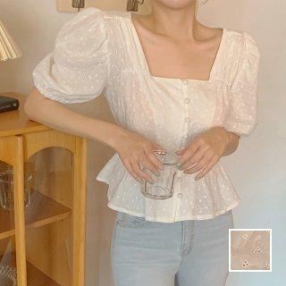 韓国 ファッション トップス ブラウス シャツ 春 夏 カジュアル PTXK927  パンチングレース ペプラム パフスリーブ オルチャン シンプル 定番 セレカジ