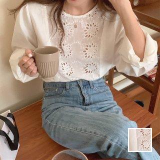 韓国 ファッション トップス ブラウス シャツ 春 夏 カジュアル PTXK929  パンチングレース シアー プルオーバー オルチャン シンプル 定番 セレカジ