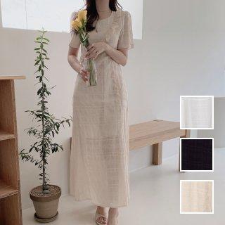 韓国 ファッション ワンピース 春 夏 カジュアル PTXK933  シアー アシンメトリー フリル ギャザー ラフ オルチャン シンプル 定番 セレカジ