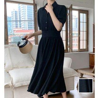 韓国 ファッション ワンピース 春 夏 カジュアル PTXK938  ギャザーディテール ドレープ シャツワンピ風 オルチャン シンプル 定番 セレカジ